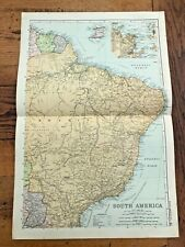 1890 large double page map - g.w. bacon the strand london . south america n.e.