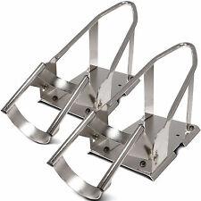 Pair Of 3 Position Adjustable Chrome Motorcycle Wheel Chocks Stand Truck Trailer