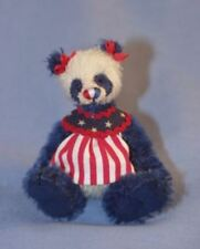 """Deb Canham """" Liberty Lou"""" Red/White Mohair Jointed Teddy Bear-Miniature 3 3/4"""""""