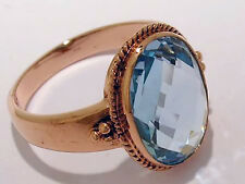 C139 Genuine 9ct Solid ROSE Gold Large NATURAL Topaz Ring made in your size