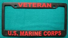 License Plate Frame, Polished ABS-VETERAN/U.S. MARINE CORPS-#8613R