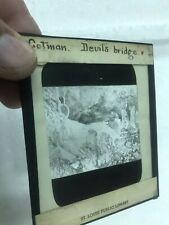 4 Magic Lantern Glass Slides John Sell Cotman Devils Bridge, Fishing Boats Moon