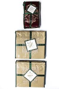 Waterford Charlemont Pillow Case King Flat Sheet Red Brown King Lot 3