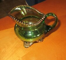 Vintage EAPG Emerald Green Footed Creamer Gold Trim 'Mother 1900' Etching