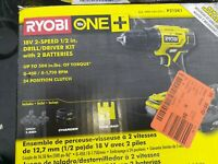 "Ryobi P215K1 18V One+ 2-Speed 1/2"" Drill/Driver Kit w/ 2 Batteries OPEN BOX"