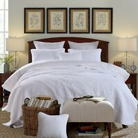 Vintage White 100% Cotton Coverlet Bedspread Comforter Bedcover Set 3pcs - Queen