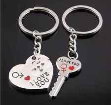 """I Love You"" Heart+Arrow +Key Couple Key Chain Ring Keyring Keyfob Lover Sale PS"