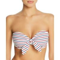 Shoshanna Womens Striped Bandeau Knot-Front Swim Top Separates BHFO 3000