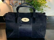 Vintage Bayswater Buckle Suede & Leather Midnight Blue Mulberry Bag Large