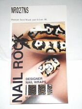 NAIL ROCK Designer Nail Wraps - NR027NS - Cheetah Gold, Black and Silver - NEW