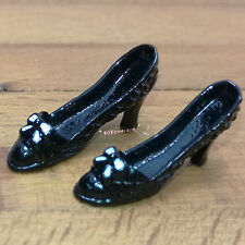 Dollhouse Miniature  1:12 Toy A Pair Of Metal Black High Heels Shoes L2cm SPO476