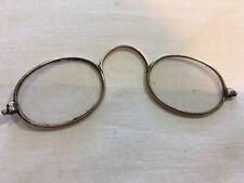 Antique Vintage Gold metal framed oval pince nez spectacles Reading Glasses