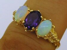 R225- GENUINE 750 18K 18ct Solid Gold NATURAL Amethyst Opal Trilogy Ring size N