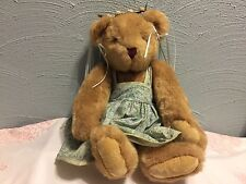 "Vermont Teddy Bear Co. Poseable Plush 16"" dressed in a teal Paisley dress"