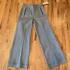 NWT RANDOLPH DUKE The Look Jeanius Pant Gray Black Stitch High Waist Wide Leg 10
