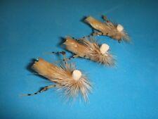 FLY FISHING FLIES - Tan FOAM PARACHUTE HOPPER size #12 (6 pcs.)
