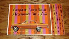Original 1964 Chevrolet Chevy II Nova Custom Feature Accessories Brochure 64