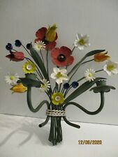 Beautiful Colorful Vintage Spring Time Toleware Candle Sconce Italy