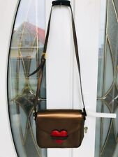 Moschino Redwall Brown Leather Red Tone Heart Shoulder Bag Vintage