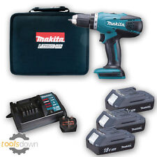 Makita 18v Li-ion Cordless Hammer Combi Drill + 3 x Batteries , Charger & Case