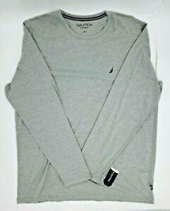 Nautica Men's Pajama PJ Long Sleeve Shirt Gray Logo Lounge Sleepwear Size XL