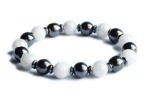 Empath Protection Silver Hematite & Moonstone Centering Crystal Bracelet