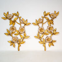 Gorgeous Pair Syroco Flower 1960s Wall Hanging Décor Gold Gilt Tone Vintage MCM