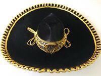"""MEXICAN MARIACHI HAT , CHARRO ,BODA, SOMBRERO ,COSTUME , 22"""",ADULT,BLACK & GOLD"""