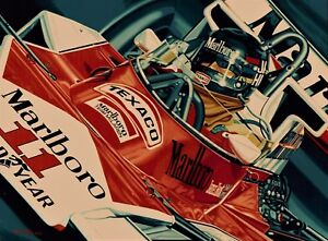 James Hunt 90 x 70 cms limited edition F1 art print by Colin Carter