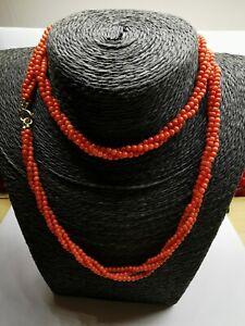 collana torcione pallini di corallo rosso naturale con chiusura in oro 750 18 kt