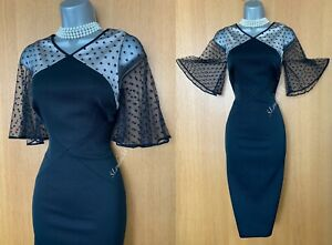 Karen Millen UK 10 Black Kimono Mesh Sleeve Special Occasion Shift Midi Dress 38