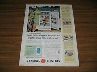 1953 Print Ad GE General Electric Roto-Cold Refrigerators Happy Mom & Son