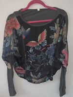 TINY By Anthropologie Small Black Multi Floral Butterfly Gray Long Sleeve Top