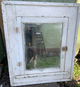 Antique Recessed Wood Beveled Mirror Farmhouse Medicine Cabinet W Shelves