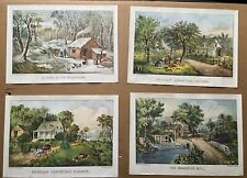 4 Vtg Stapco 1971 Currier & Ives 14 x 10 Prints Homestead Summer Roadside Mill +