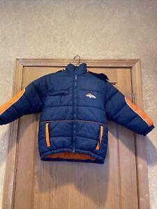 Broncos NFL child size 8 Puffer Jacket blue/Orange Hoodie Football Denver