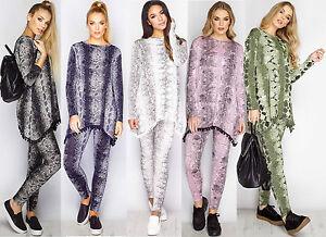 New Ladies Women's Snake Skin Printed Pom Pom Tracksuit Loungewear Suit Set 8-22
