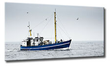 Leinwand Bild Fischkutter Nordsee Schiff Boot Meer Blau