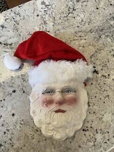 Vintage Clay Art USA Ceramic Santa Claus with Glasses Wall Mask Very Nice