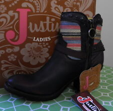 JUSTIN Brown Leather Southwestern  Ankle Boots Size 8 MNEW IN BOX