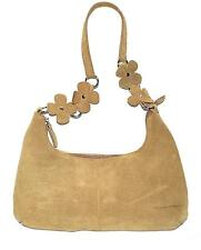 Tan Suede Leather Small Hobo Bag with Suede Flowers on Strap & Natural Interior