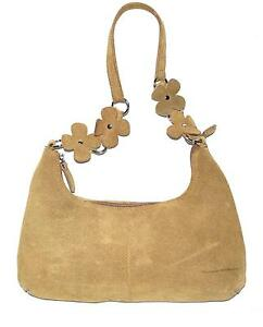 Tan Suede Leather with Suede Flowers on Strap & Natural Interior Hobo Bag