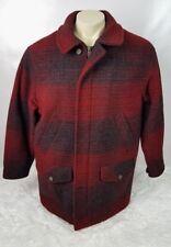 Eddie Bauer Wool Blend Barn Coat Men Size Medium Heavy Outdoor Red Black