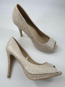 Peacocks size 7 (40) gold faux leather glitter peep toe stiletto heel court shoe