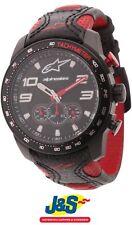 Alpinestars Tech Watch Chrono negro correa de cuero Rojo Moto Motocicleta J&s