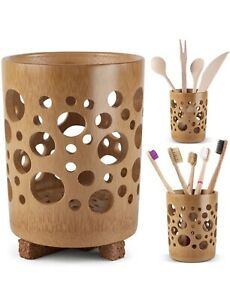 Wooden Toothbrush Holder for Bathroom w/ Cork, Quick Drying