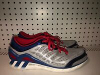 Adidas ClimaCool Mens Athletic Running Training Shoes Size 9.5 Gray Blue Red
