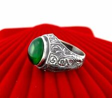 Turkish 925 S. Silver Green emerald Stone Mens Ring Sz 11 us #1697 free resize