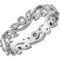 Genuine Diamonds 1/4 ct tw Eternity Anniversary Ring 14K Solid White Gold Size 6