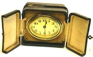 Antique 1930's, 30 Hr Travel Clock,Desk Clock, Key Wind, Fold up leather Case WO